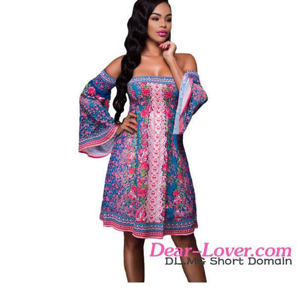 Sexy Gypsy Blue Pink Floral Print Off-shoulder Boho Chic Dress