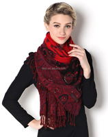 2016 Hot sell handmade indian scarves bead shawls