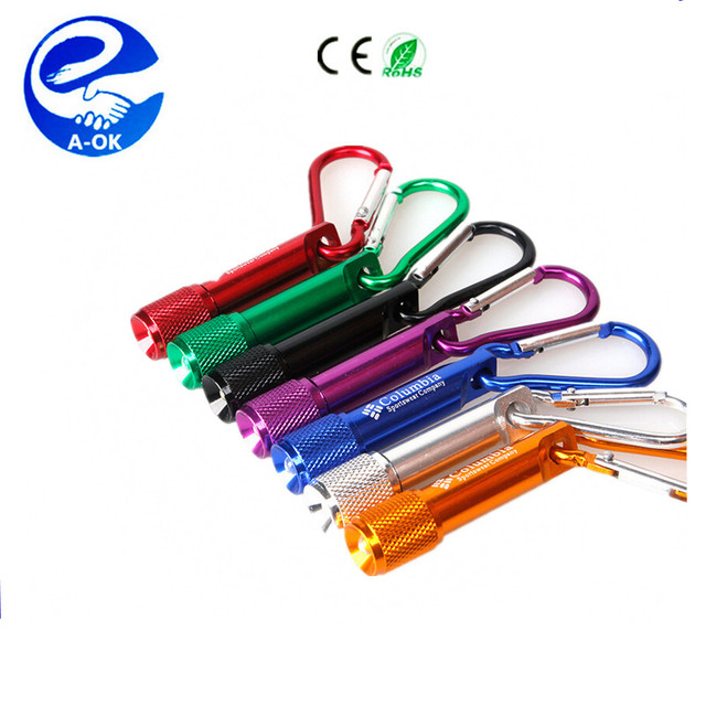 Mini 1 LED Flashlight Carabiner Torch Clip Keychain Camping Lamp Hiking Hook Key Chain Flash light