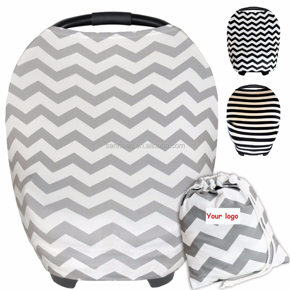 Fashion Baby Car Seat Cover Canopy, Stretchy Nursing And Shopping Cart Covers, Multi Use 3 in 1 Gift + Carry Bag