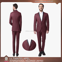 Wedding Hot Syle One Button Black Tuxedo Custom Made Wine Color Suit