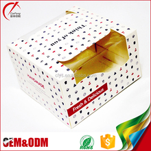 Fashion Custom Foldable Paper Square Birthday Cake Boxes Printing With Clear Window