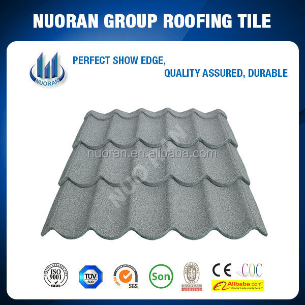 Nuoran steel buildings material/colorful stone coated steel roof tile/longer lifetime than shingles asphalt