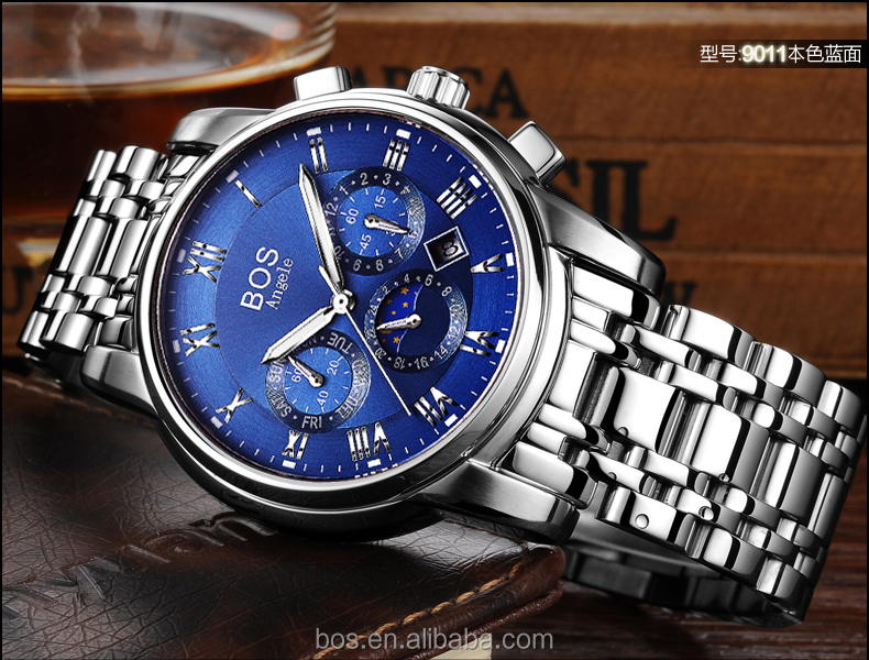 Quartz Men Watch Big Wrist Western Men's Watch Mixed Order Free Packing Sample Available Stainless Steel Quartz Watch supplier