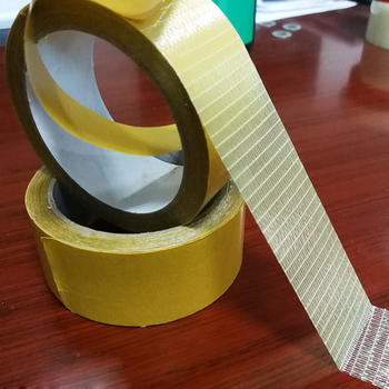Double Sided Transparent Cross Filament Tape with Yellow Release paper