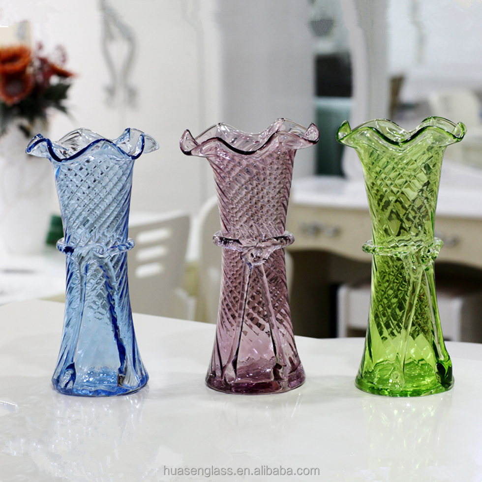 China home decoration wholesale white / black / red / yellow / blue / green / purple flower glass vase