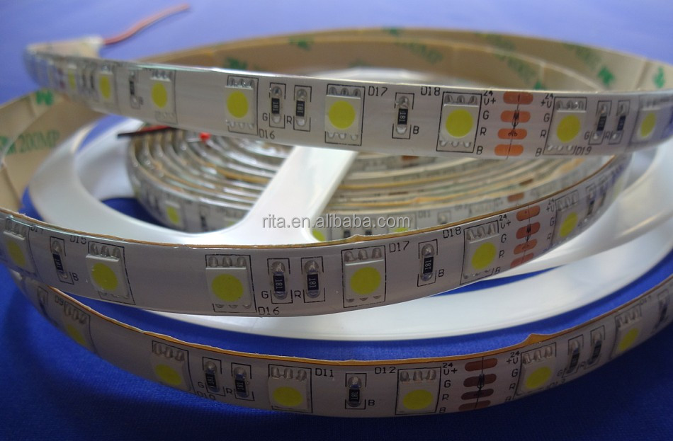 DC24V LED strip 5050 SMD flexible light 60LED/m,5m 300LED,White,warm,Blue,Green,Red,Yellow;<strong>RGB</strong>;waterproof silicon coating;IP65