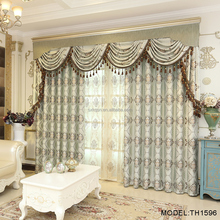 Luxury flower jacquard drapes and fabric curtains with valance