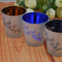 three color types family glass candlestick home decor