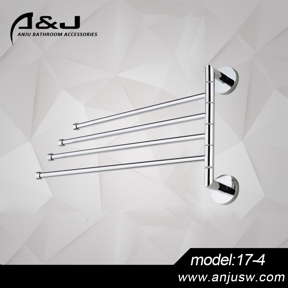Metal Bathroom Accessories Wall Mounted Chrome Plated Brass Active Towel Bar