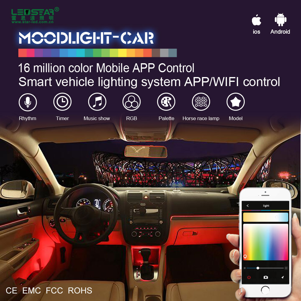 High quality new design car accessories interior, smart led light 12V car, mobile APP WIFI control