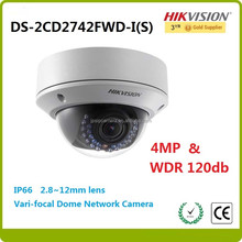 Hikvision cctv ip camera DS-2CD2742FWD-IS IR SDcard 4MP WDR 4-9mm varifocal lens dome camera