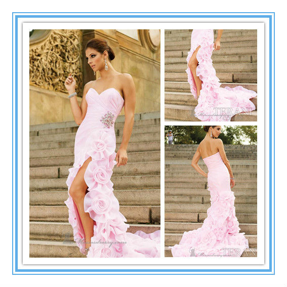 Fashion Handmade Flower Pink High Slit Organza Princess Prom Dresses(EVFA-1042)