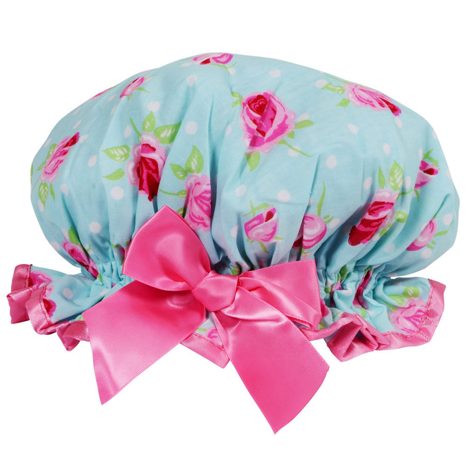 new fashion adult satin and eva waterproof shower bath cap for christmas custom design with printing