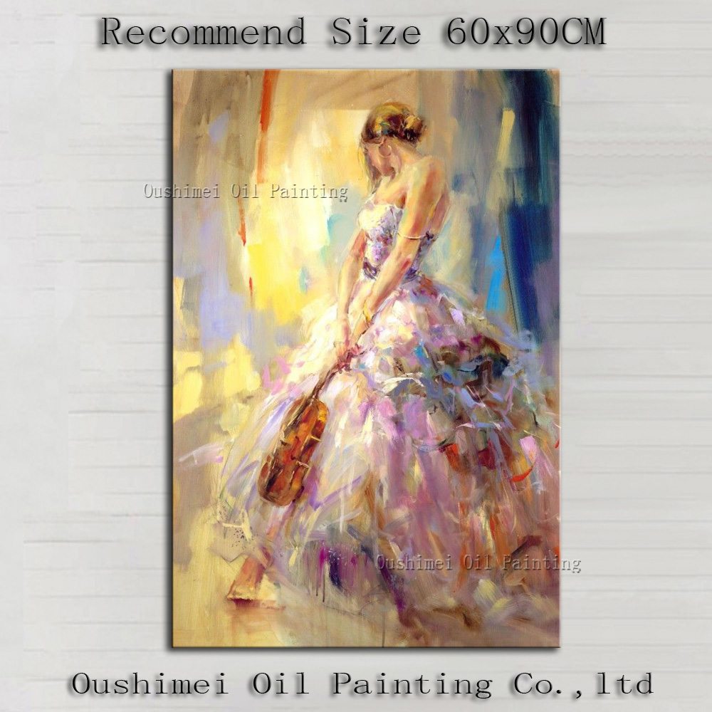 Top Artist Team Supply High Quality Impression Lady With Violin Oil Painting On Canvas Beauty Lady Wearing Dress Oil Paintings