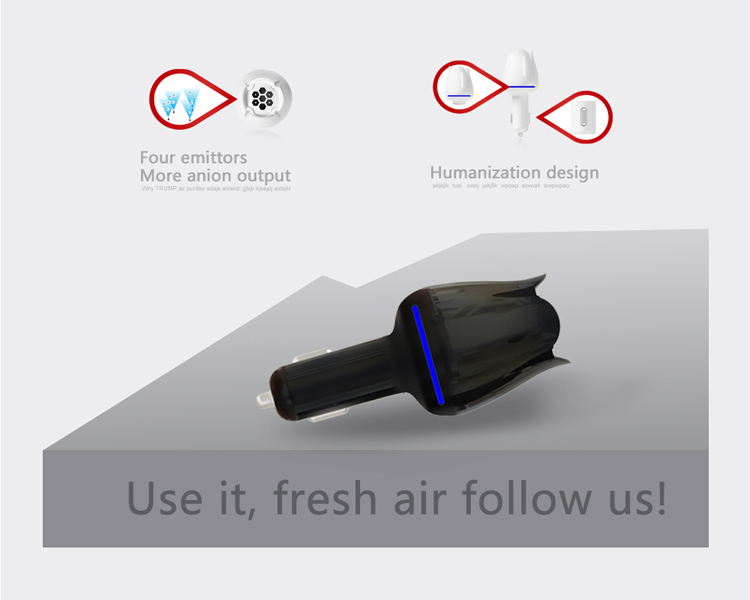 Factory direct sale portable mini car ionizer air purifier