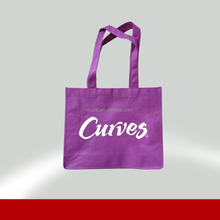 Customized purple all over printed logo non woven shopping bags for sale