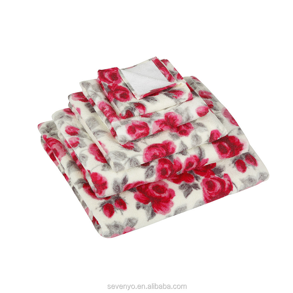 High quality 600GSM Customized Painted Rose Towel , Bath Sheet HTS-138 wholesale