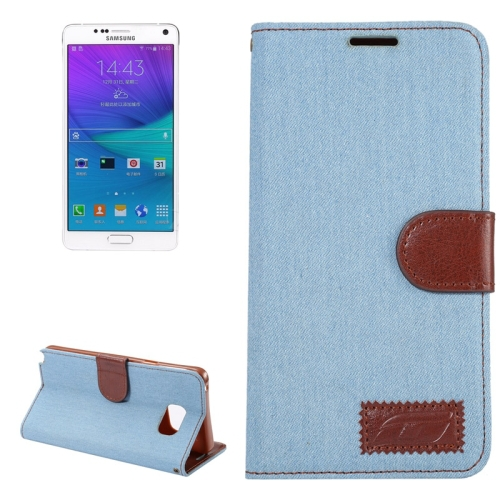 Fast Delivery Denim Texture Leather for Samsung Galaxy Note 5 Wallet Case with Card Slots