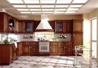 Natural style solid wood modern kitchen cabinet