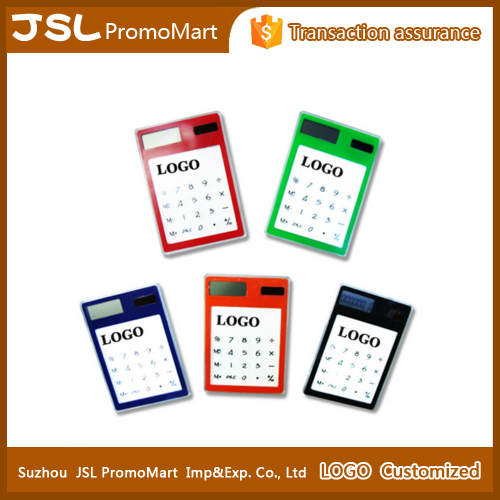 Customized logo credit card size calculator solar cell mini slim card solar power pocket calculator