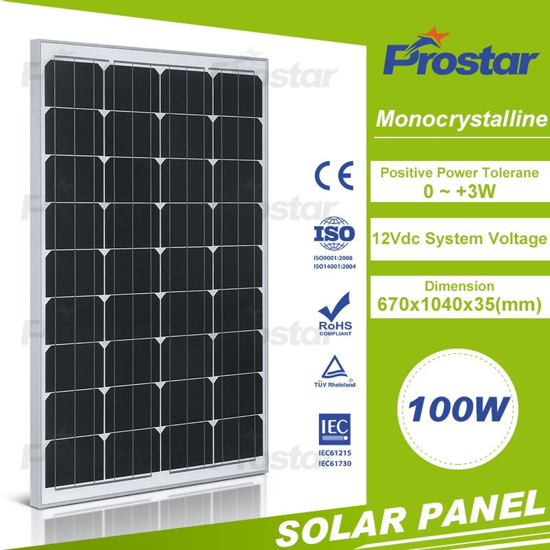 Black color A grade cell high efficieny PV module 100w mono solar module