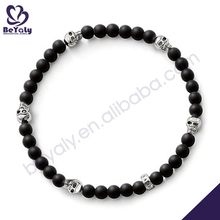 Black bead with skull silver charms personalised bracelets