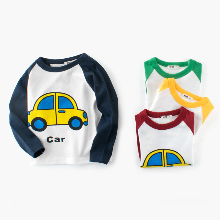 Baby Casual Clothing Spring Baby Boys and Girls Cartoon Car Printed Long Sleeve T-shirt Children Clothing