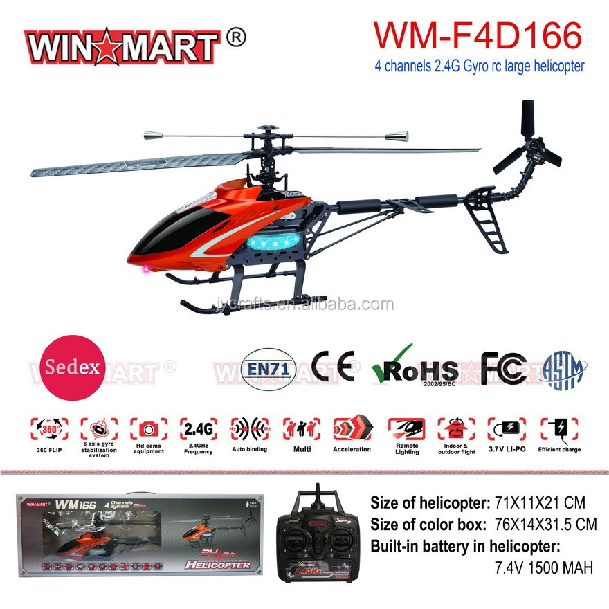 Flying whirlybird toy 2.4G 4ch single blade radio control helicopter volitation