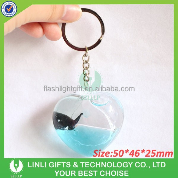 Custom Shape Acrylic Glitter Liquid Key Chain