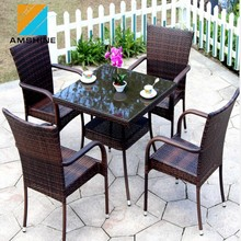 Aluminum frame Rattan Restaurant Dining Chairs Set waterproof Garden Outdoor Furniture