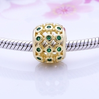 Wholesale 14K Gold Plated Charms Openwork 925 Sterling Silver Charm With Green CZ DIY Fashion Jewlery European Soild Beads