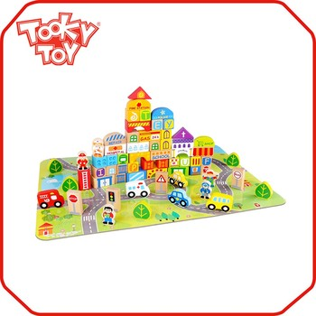 Colorful 100pcs Wooden Toy City Building unfinished wood Block