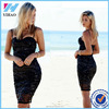 Sexy Vestidos Women Backless Black Sequined Bodycon Pencil Midi Bandage Dress