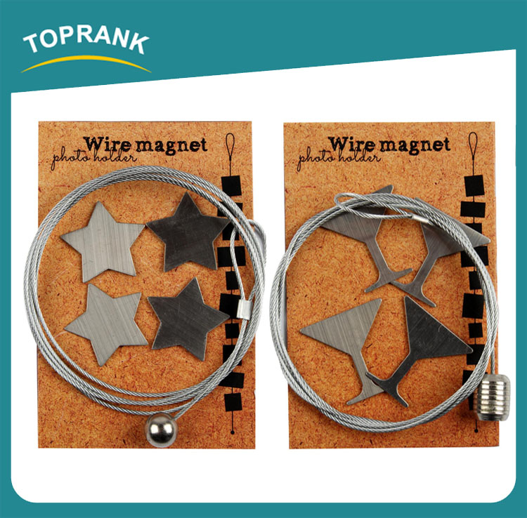 Toprank OEM Cute Promotional 4PCS Steel Cable Magnetic Photo Holder Rope,Magnetic Photo Frame Photo Holder