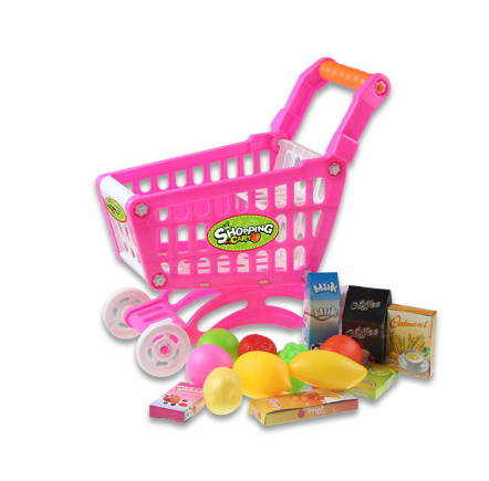 Kids plastic shopping cart with toy car,kids plastic supermarket trolley