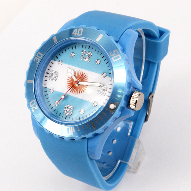 Fashion colorful national flag charming pattern SPORT Games silicone strap world cup watch