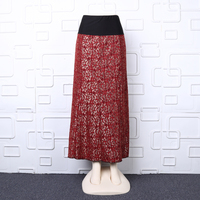 Luxury red gold lace skirt plus size long skirt elastic waistband maxi skirt