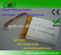 High Power Polymer Lithium Ion Batteries, 703443 3.7V 950mAh Lithium Polymer battery for MP5 player,li-po battery,