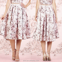 Oem clothing factory all over print swing new pleated bottom women floral skirt