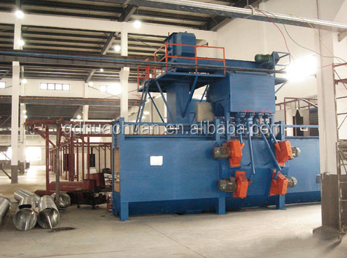 Q38 double route series hanger chain type continuous working overhead rail shot blasting machine/ blasting equipment