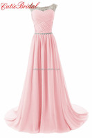 New Fashion Pink Pleats Bodice Formal Evening Gowns Chiffon Long Beaded Sheer Neck Evening Dresses