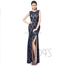 Elegant Long Women's Sheath Navy Blue Beaded Lace Evening Dress 2017