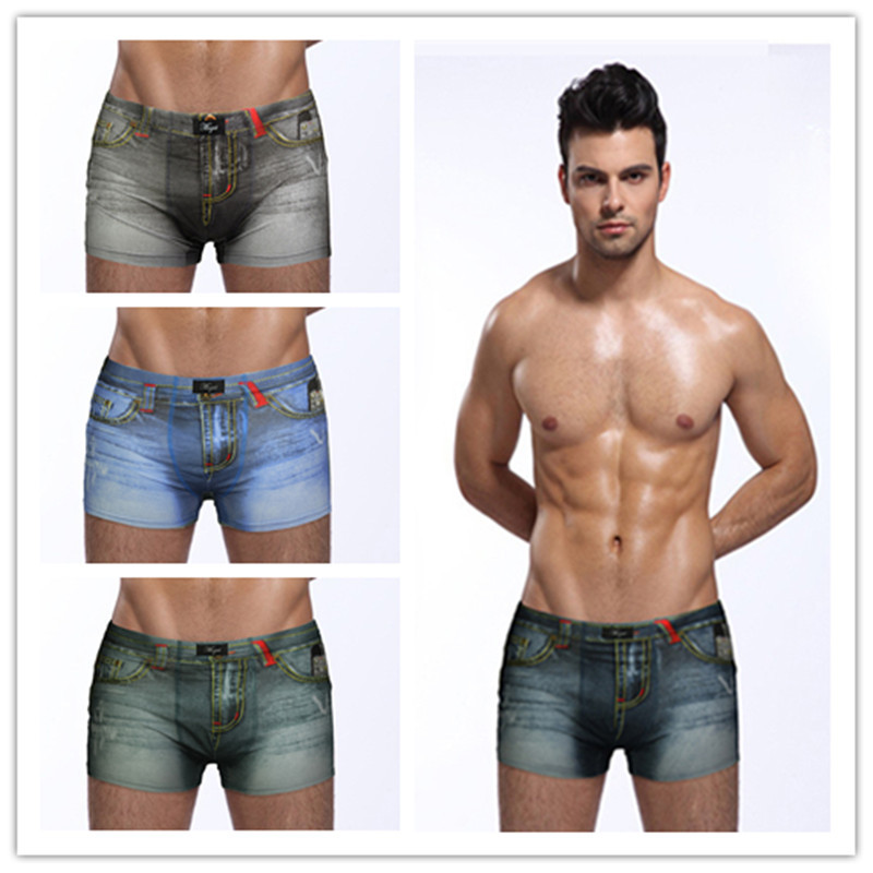 1pcs/ High Quality Men's Denim Cotton Underwear Boxer Underwear Men's Print Boxer Shorts Mens Cuecas Boxers Calzoncillos Hombres
