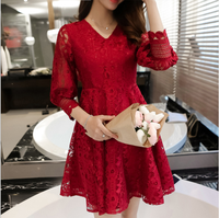 d83499f 2016 red lace dresses korea designs women dress model