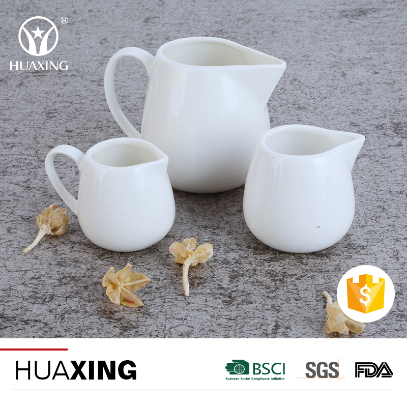 White porcelain oem guangdong factory tea coffee small ceramic milk pot with handle