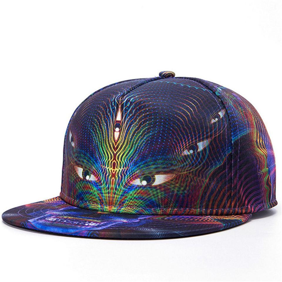 Get Quotations · Harajuku Snapback Gorras Hat Bon Flat Brimmed Baseball Cap  3D Print Eye Adjustable Hip hop Trucker a32f9d87fb0f