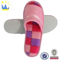 Hot pink terry cloth models affordable non- disposable hotel slippers