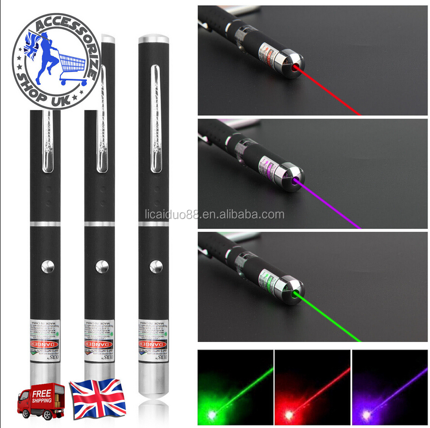 Green + Purple + Red Laser Pointer Light Pen Beam 1mw Lazer pen