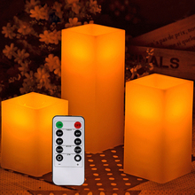 10 keys Remote Control Battery Fake Square LED Candles with Timer for Weddings